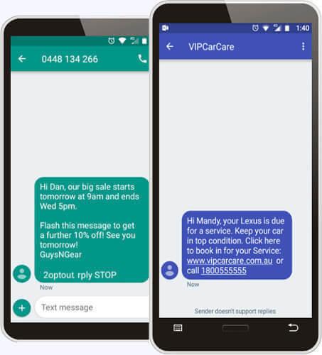SMS broadcast, send SMS to clients from computer, business